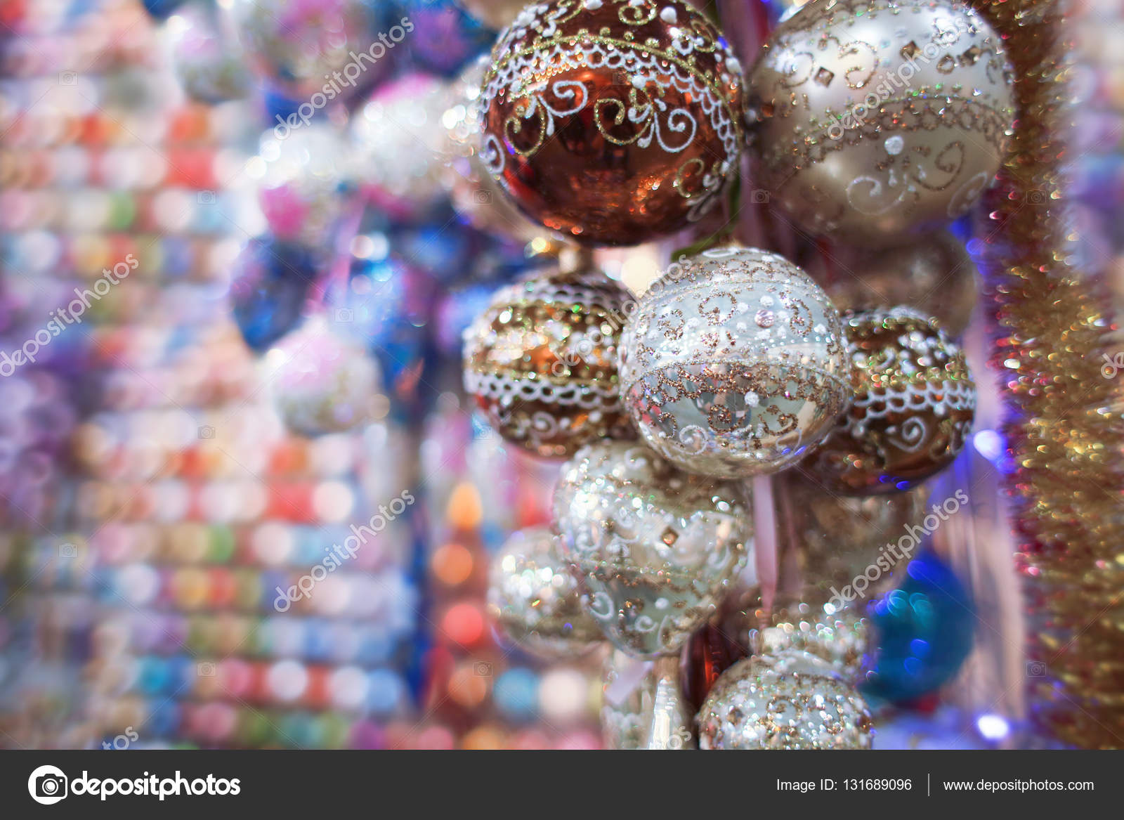Bright Christmas decorations at warehouse– stock image