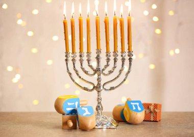 Menorah with candles for Hanukkah