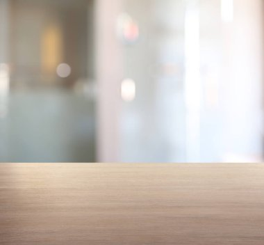 Table against blurred office background
