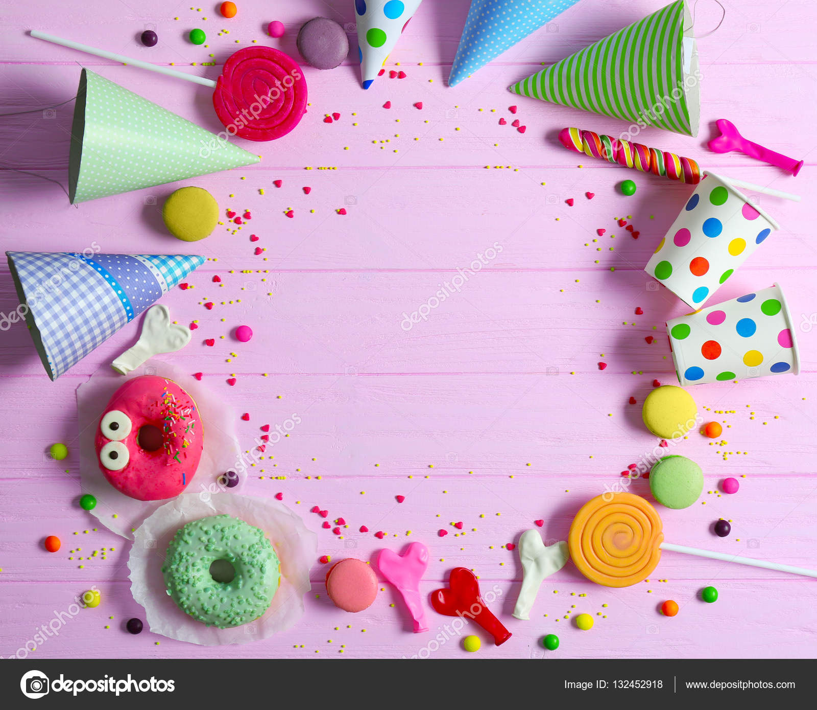 Bright Birthday Background With Sweets And Decorations Photo By Belchonock