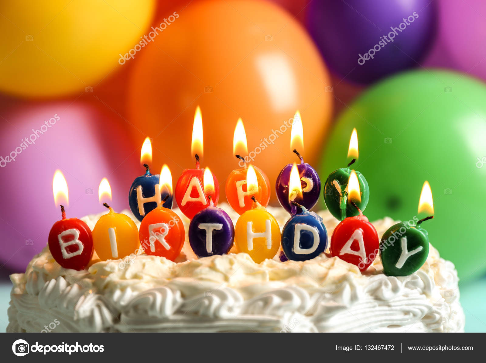 Stupendous Birthday Cake With Candles And Balloons Birthday Cake With Personalised Birthday Cards Veneteletsinfo