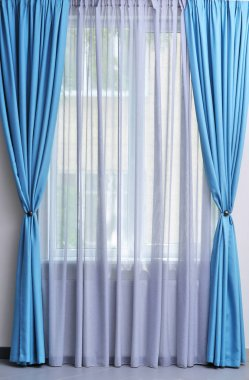 white and blue curtains