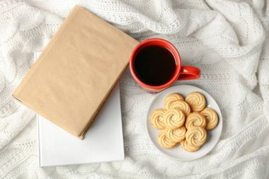fresh coffee with biscuits