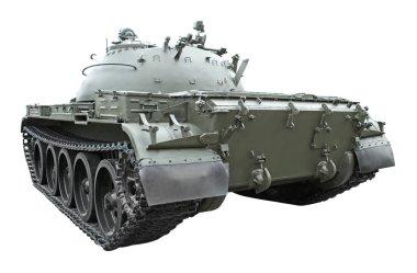 Military tank on white