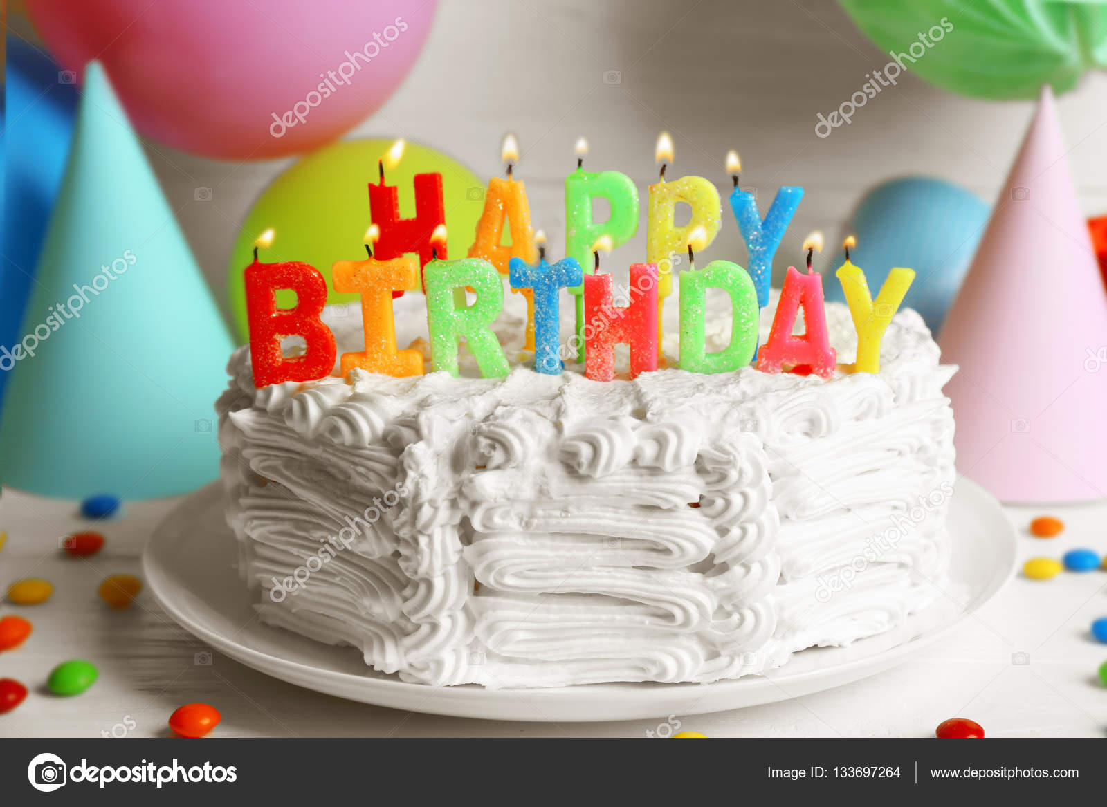 Birthday Cake With Candles Stock Photo Belchonock 133697264