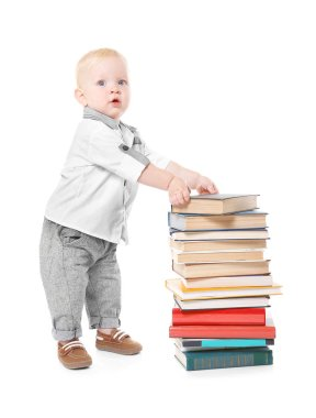 Baby boy with books