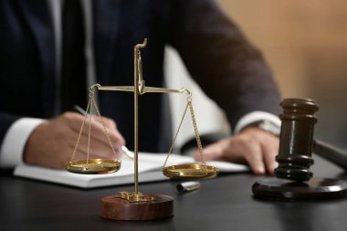 Scales of justice and judge gavel