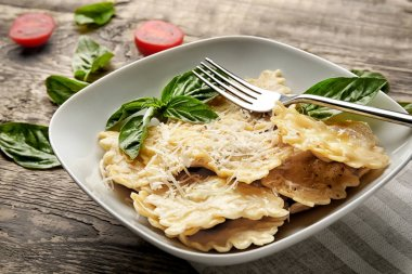 Plate of ravioli with cheese