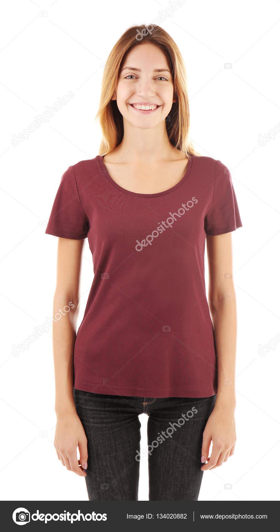 Mujer Camiseta Marrón De Foto Stock Blanco En — qqSROx8zw