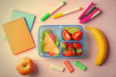 Lunch box with food