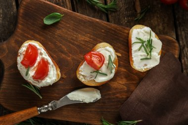 Delicious bruschettas with tomatoes