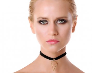 Beautiful woman with trendy choker