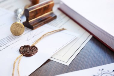 Wax seal, stamp and documents