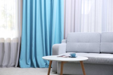 Living room with modern curtains
