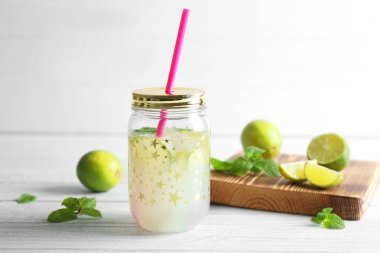 Lime lemonade in mason jar
