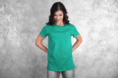 Young woman in blank t-shirt