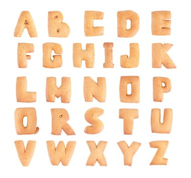 Set of tasty cookies letters