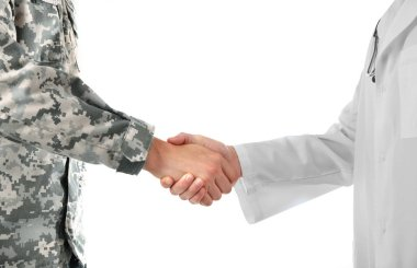 Soldier and doctor shaking hands