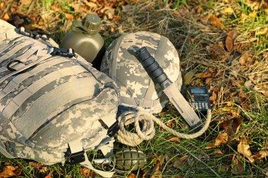 Military set on grass