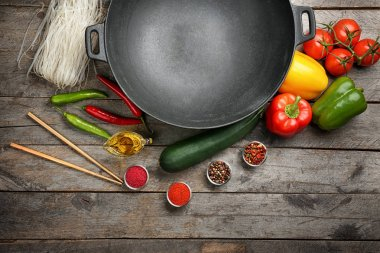 Wok with fresh products