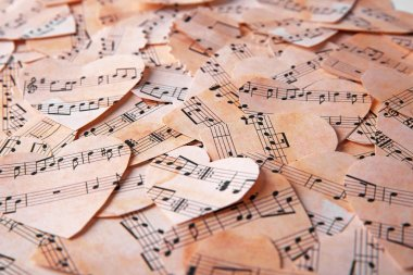 Paper hearts with music notes