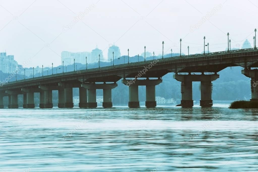 Paton bridge over river in Kyiv