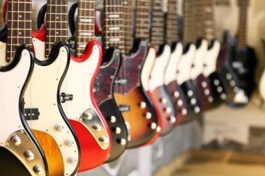 Guitars in music shop