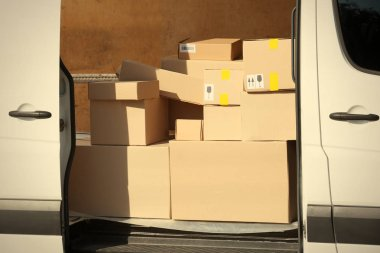 van loaded with packages