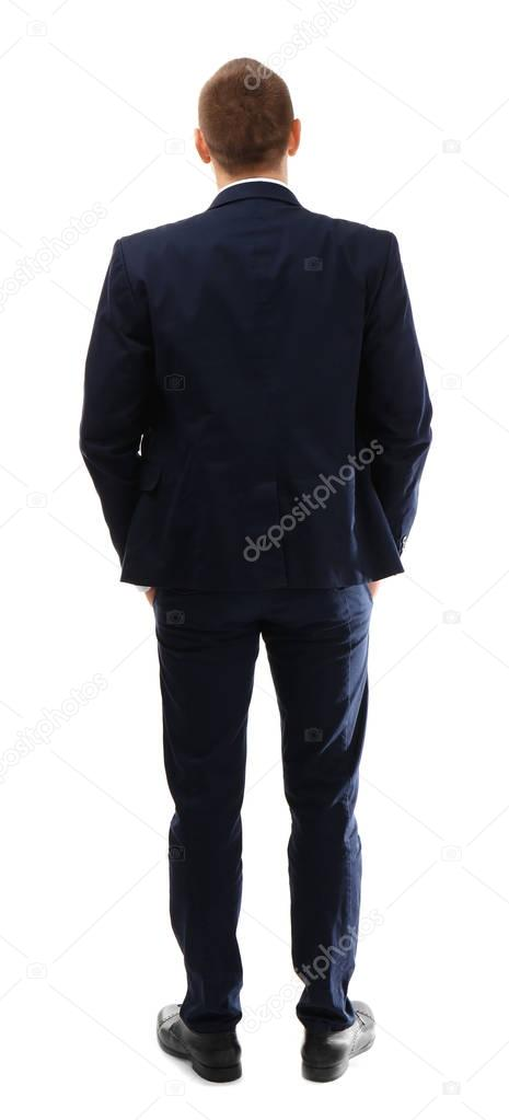 Young business coach standing on white background