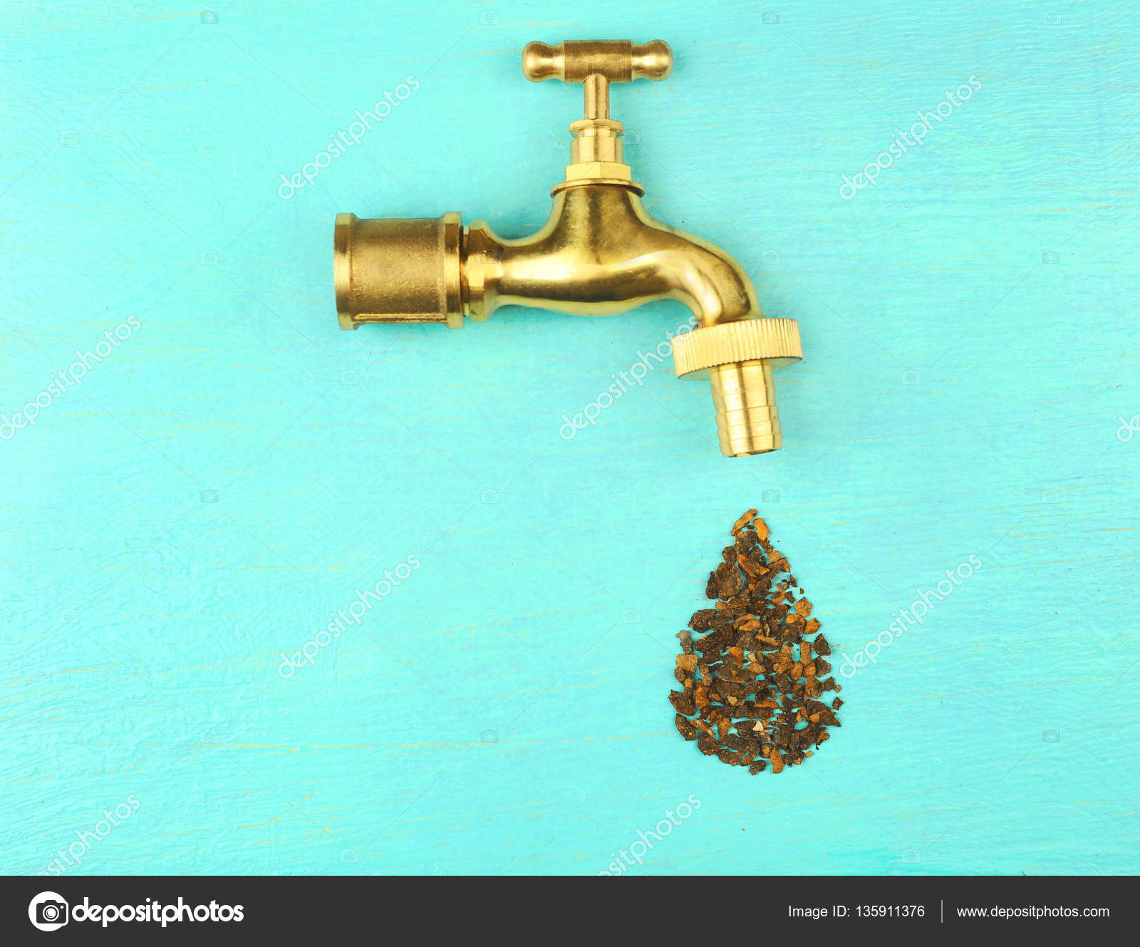 Faucet with water drop — Stock Photo © belchonock #135911376