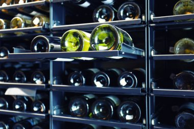 Shelving with different wine bottles