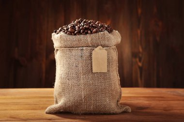 Coffee beans in sackcloth