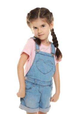 Cute little girl on white