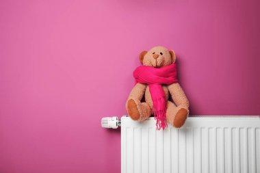 Teddy bear on heating radiator