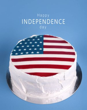 Delicious cake with American flag