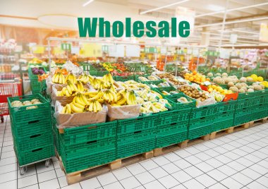 Assortment of fruits at supermarket