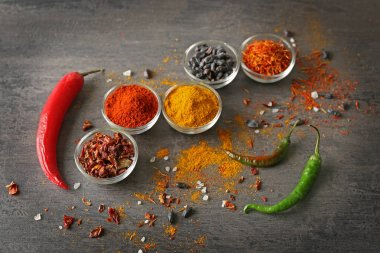 Aromatic spices in glass bowls