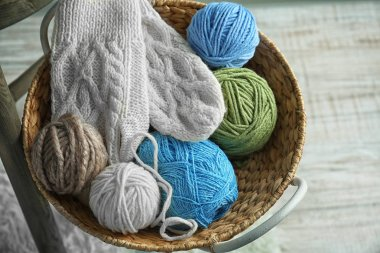 basket with knitting yarn