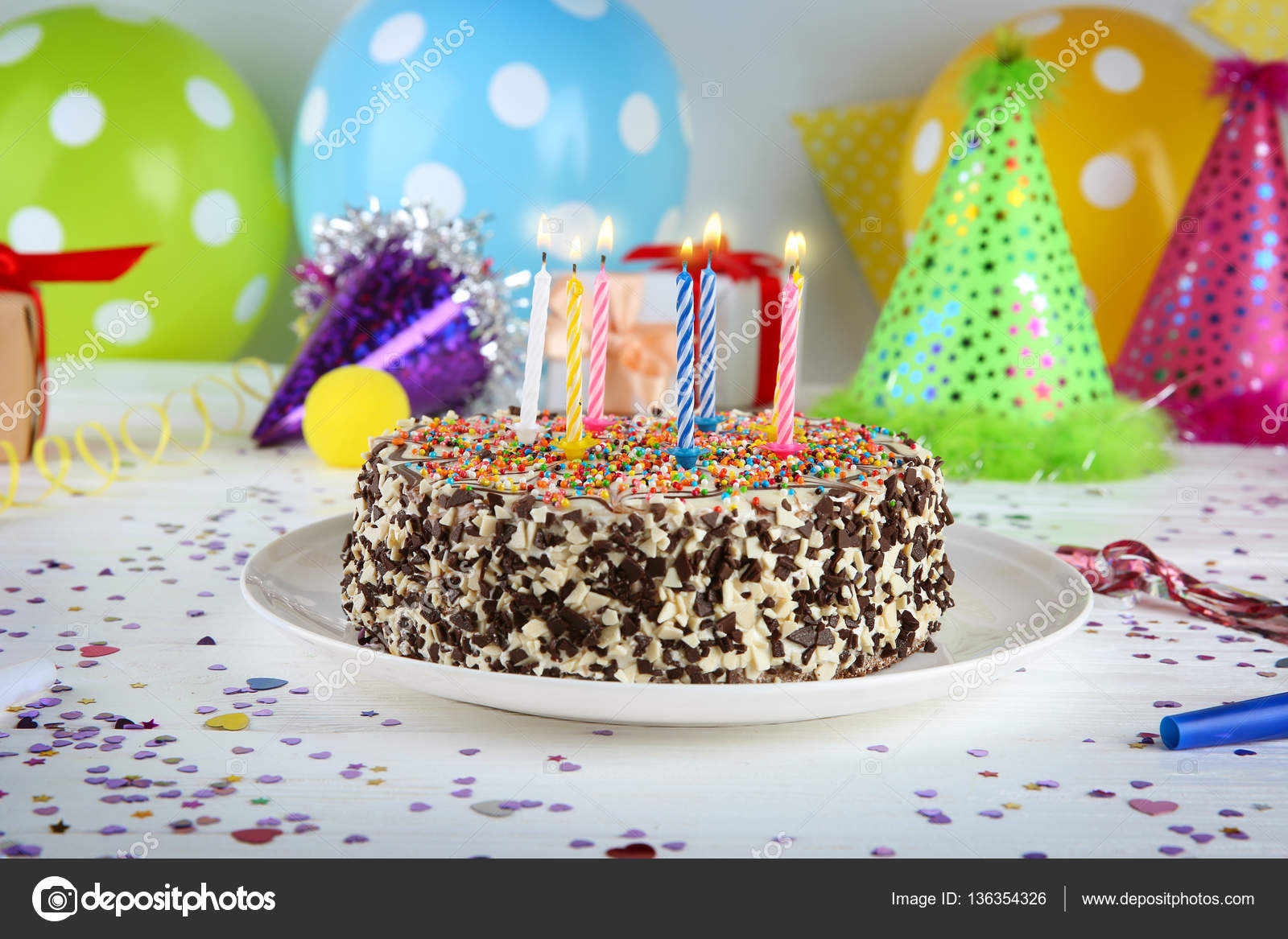 Delicious Birthday Cake On Colorful Background Photo By Belchonock
