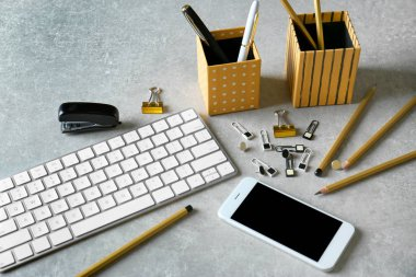 keyboard, smart phone and stationery