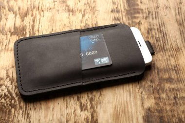 Leather case with mobile phone