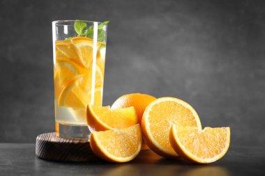 Water with fresh orange