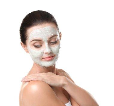 woman with facial scrub