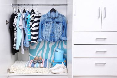Collection of clothes hanging