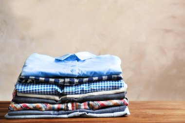 Stack of colorful shirts