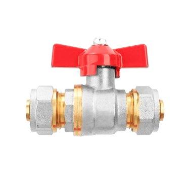 Plumbing valve on white