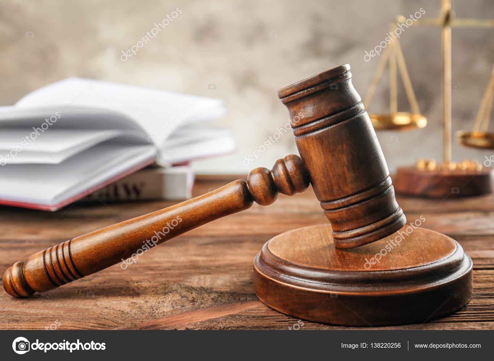 court gavel on wooden table stock photo belchonock 138220256