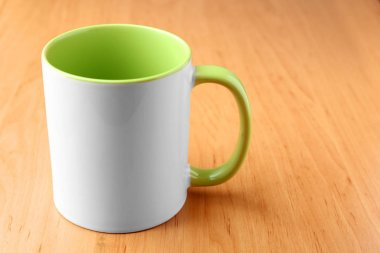 White with green mug for branding