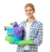 Fotografie Pretty woman s čistící prostředky