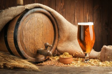 Beer barrel with hops and barley